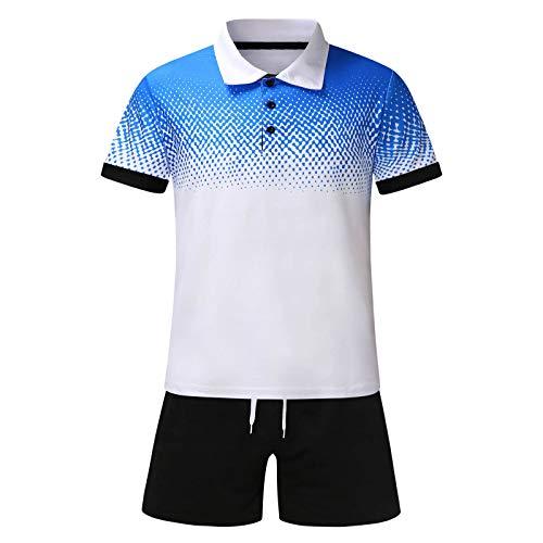 T-Shirt Top Polo Chemisier Chemises Shorts Pantalons Ensembles Shorts Costume Homme Été 2 Pièces Plage Patchwork Manches Courtes (XXL,4blanc)