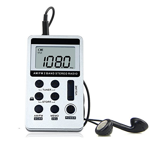 AM FM Pocket Radio Mini Portable Digital Tuning AM/FM Stereo Radio Receiver with Rechargeable Battery and Earphone-Silver
