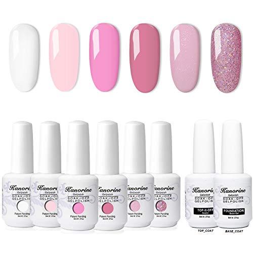 KANORINE 8pcs Nail Gel polish Set (6 colours + base & top coat) Soak off UV/LED Gel Nail Polish Long Lasting Gel Varnish Manicure Gift Set 8ml x8pcs