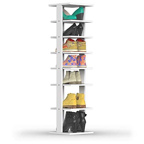 GIANTEX – Scarpiera Salvaspazio Verticale in Legno con 7 Ripiani Scaffale Porta Scarpe per Ingresso Stretto e Moderno Bianco