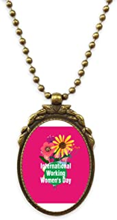 International Working Women Day Antique Necklace Vintage Bead Pendant Keychain