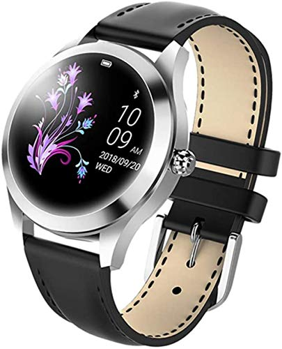 IP68 Reloj inteligente impermeable para mujer, pulsera preciosa con monitor de ritmo cardíaco, monitoreo del sueño, reloj inteligente conectar iOS Android, color negro