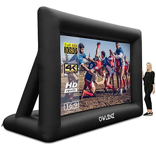 Pantalla de proyector inflable de 20 pies de inflación portátil de cine en casa pantalla del proyector 16:9 4K HD al aire libre y...