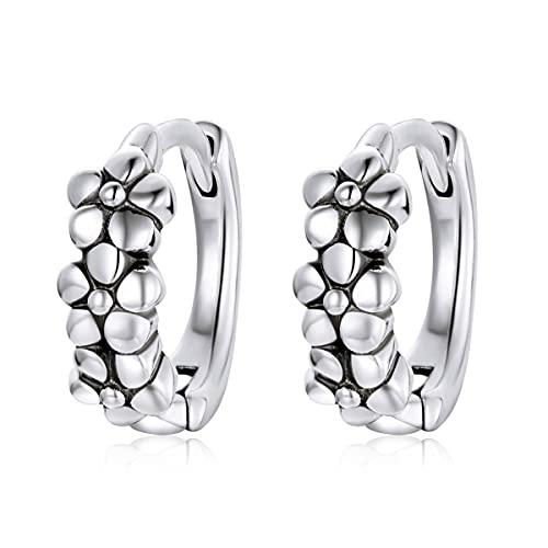 Pendientes de aro de plata de ley 925 con diseño de flores simples y vintage, para mujer