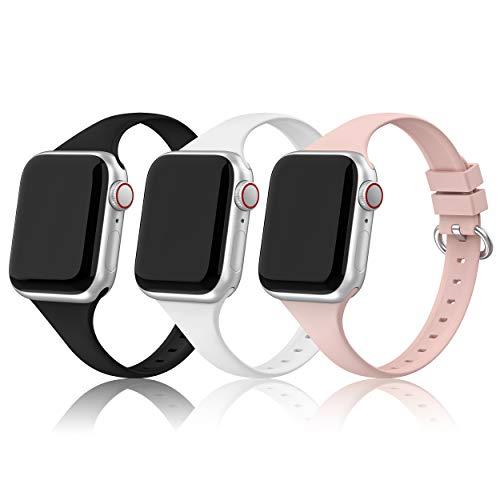 PARMPH Sport Armband Kompatibel mit Apple Watch Armband 38mm 40mm Frauen Sie, 3 Stück Weiche Silikon Ersatz Armband Kompatibel mit Apple iWatch Series 6, 5, 4, 3, 2, 1, SE Schwarz/Weiß/Rosa Sand