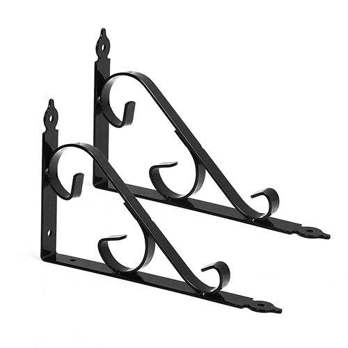 GoYonder Black Metal Shelf Brackets Wall Mounted Corner Brace Shelf Support Wall Hanging for Kitchen...