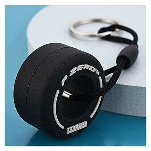Bolso de Anillos de Llave de Coche F1 Mini Lindo Neumático Neumático Suave Neumático Llavero Silicona Zipper Decoración Decoración Charms Mejores Regalos (Color : White, Size : 3pcs)