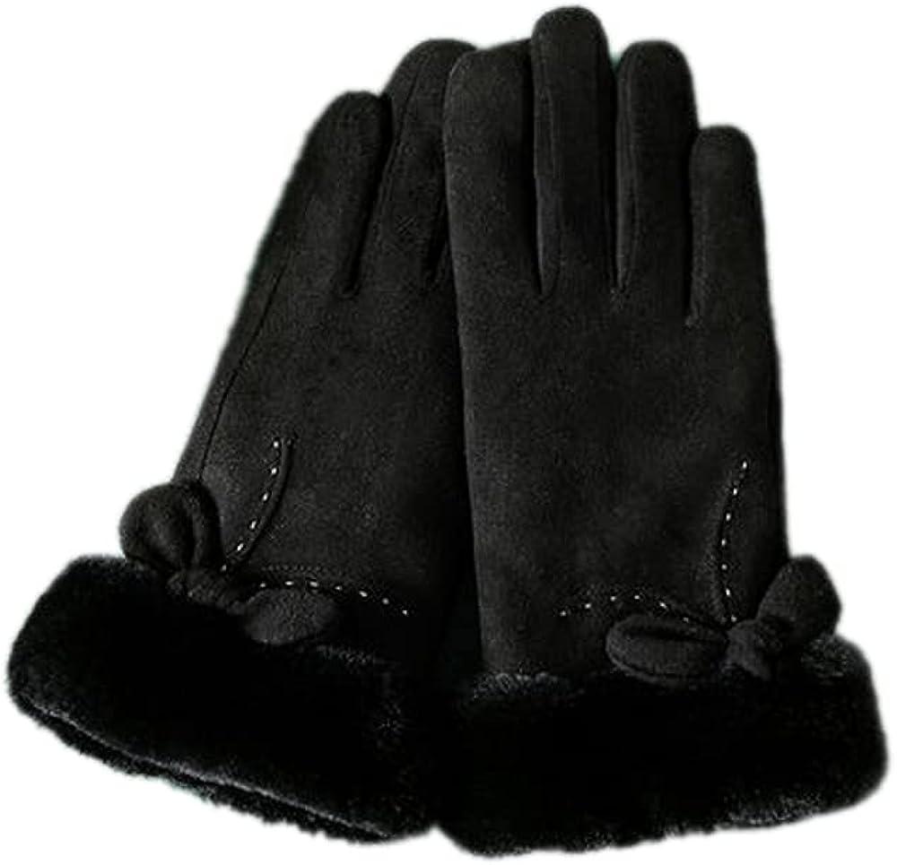 ATHX Women Winter Suede Touchscreen Warm Gloves with Hairy Cuff