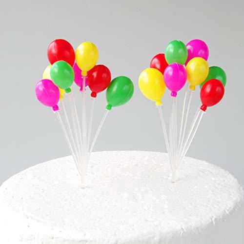 Maygone, Tortenaufsatz, Kunststoff-Ballons in Regenbogenfarben, 2 Stück, Dekoration für Geburtstagskuchen, Cupcake, (16 Ballons) für Kindergeburtstag, Babyparty