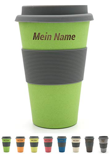 BambooYou Magu personalisierter Coffee to go Becher mit Namen Bambus Namensbecher - Individuelle Namensgravur- Lasergravur 465 - naturgrün