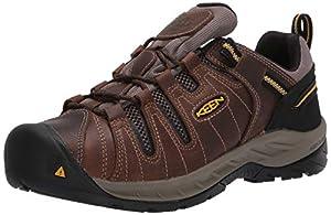KEEN Utility Men's Flint II Low Soft Toe Non Slip Work Shoe Construction, Cascade Brown/golden rod,10.5D US