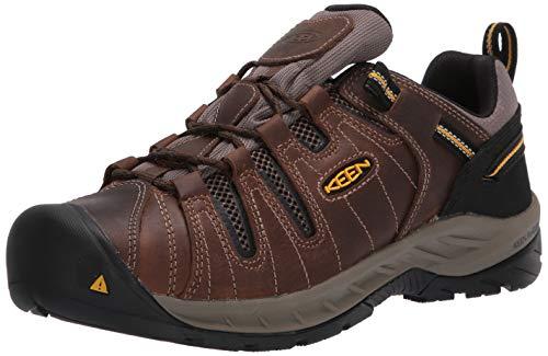 KEEN Utility Men's Flint 2 Low Soft Toe Non Slip Work Shoe, Cascade Brown/Golden Rod, 12 Wide US