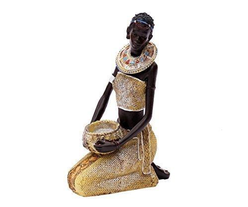 Brillibrum Afrikaanse decoratiefiguur vrouw deco figuur Afrika sculptuur standbeeld massai Afrikaanse grote toevoer schaal met kom kroon staande kniend liggend flyer