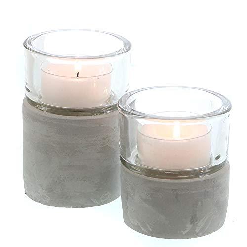 mucHome Windlicht Teelichtglas Betonsockel Grau Mit Klarem Glasaufsatz Höhe 9cm Teelichthalter Deko