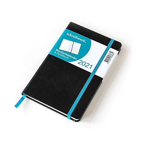 SCHREIBWERK (700022) Wochenkalender 2021 - A5 Terminplaner - 160 linierte Seiten - Hardcover Notizbuch schwarz/petrol