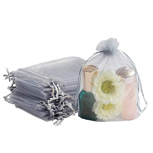 Sugarbaby 100 pz Sacchetti Organza Sacchetti Regalo Caramella 10 x 15 cm Sacchetti per Confetti Organza Borse per Bomboniera Nozze Confetti Gioielli per Matrimonio Compleanno Natale (Grigio)