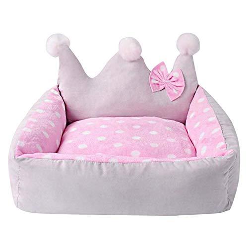 Cama para perro con forma de corona con lazo de invierno, para perro, cama pequeña para mascotas, color rosa, 50 x 45 x 25 cm