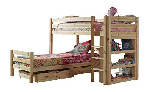 Vipack PICOHKLA10 Winkel-Etagenbett Pino mit Bettschubladen, Maße 215 x 140 x 215 cm, Liegefläche 90 x 200 cm, Kiefer massiv Natur lackiert