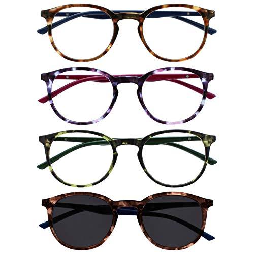Opulize Met Pack 4 Gafas De Lectura Con Lectores De Sol Grande Redondo Marrón Púrpura Verde Hombres Mujeres RRRS60-2562 +2,50