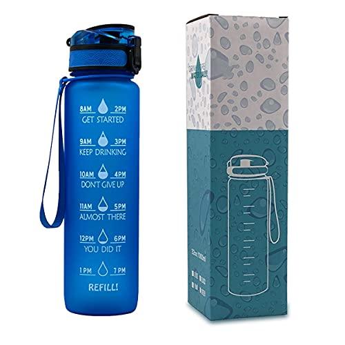 WAYKShop Botella de Agua Deportiva de 1000 ml, Taza de Agua Deportiva con Marcador de Tiempo, Botella para Yoga, Bicicleta, Fitness,Azul