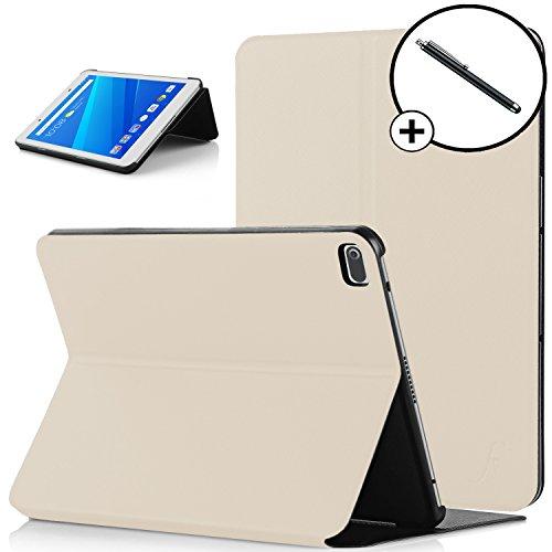 Forefront Cases Lenovo Tab 4 8 / Lenovo Tab4 8 20.32 cm (8 inch HD IPS Touch) tablet PC Hülle Schutzhülle Tasche Bumper Folio Smart Case Cover Stand - Ultra Dünn mit R&um-Geräteschutz + Stift (WEIß)