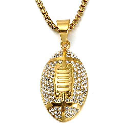 Men's Stainless Steel CZ Rugby Pendant 18k Gold Plated Amercian Style Football Sports Hip Hop Charm Necklace 24 Inches Chain