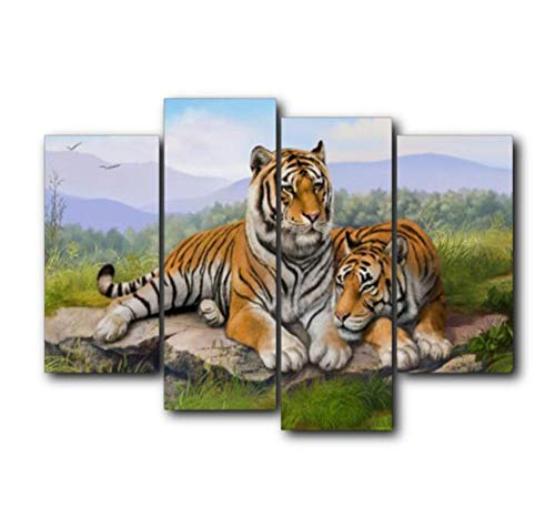 Preisvergleich Produktbild KPWAN Wohnkultur 4 Panel Tigers Vintage Poster Wandkunst Wohnzimmer Bilder Poster & Kunstdrucke Kein Rahmen Größe C.