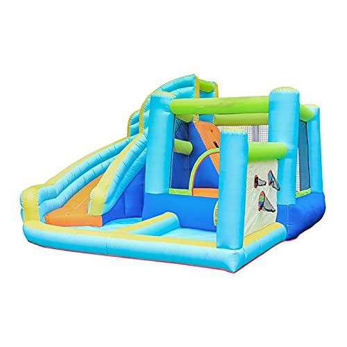 Parque acuático Inflable Mega Bouncy Castle para niños con tobogán de Agua, Pistola de Agua, Pared de Escalada y área de Piscina, Multicolor, 420X365X225CM