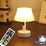 WRalwaysLX Lámpara de mesita de noche con mando a distancia, funciona con pilas, para dormitorio, sala de estar, dormitorio o mesa de café