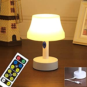 Led Night Light, USB Power / Battery Operated Nursery Lamps with Remote Control, Portable 5-Stage Dimmable Table Lamp with Timer for Bedroom, Kids Room and Other Room