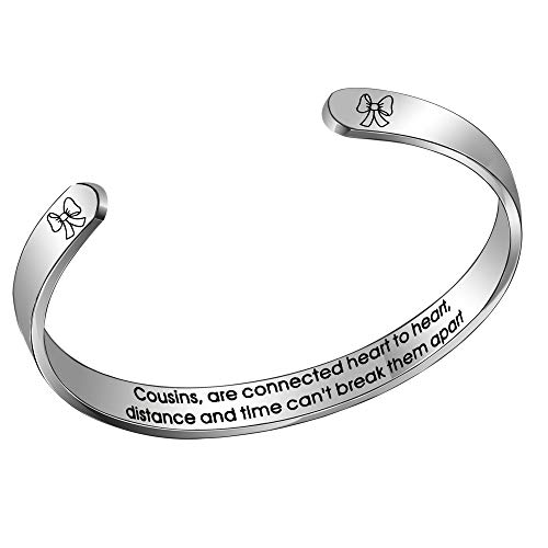 """Aoeboz Cugina Polsino Bracciale Braccialetto Donna Acciaio""""Cousins are Connected Heart to Heart Distance and Time Can't Break T"""
