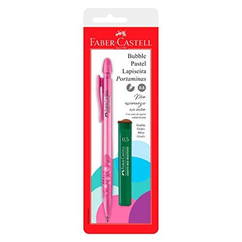 Kit com 1 Lapiseira 0.5mm, Faber-Castell, SM/05BBRS, Bubble Pastel, Rosa, + 1 Grafite