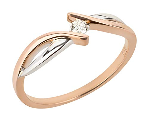 Ardeo Aurum Damenring aus 375 Gold bicolor Weißgold Rosegold mit 0,07 ct Diamant Brillant Verlobungsring