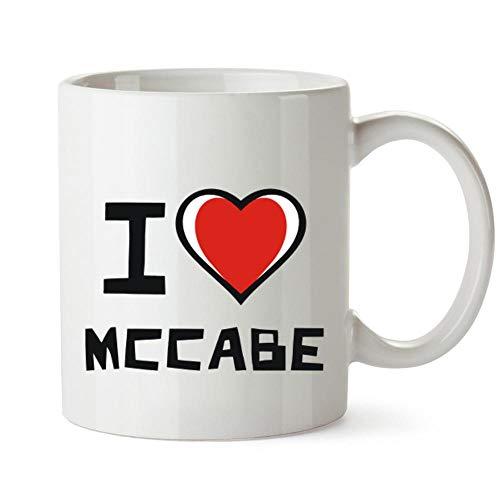 Idakoos I love McCabe - Taza de corazón bicolor (12 onzas)