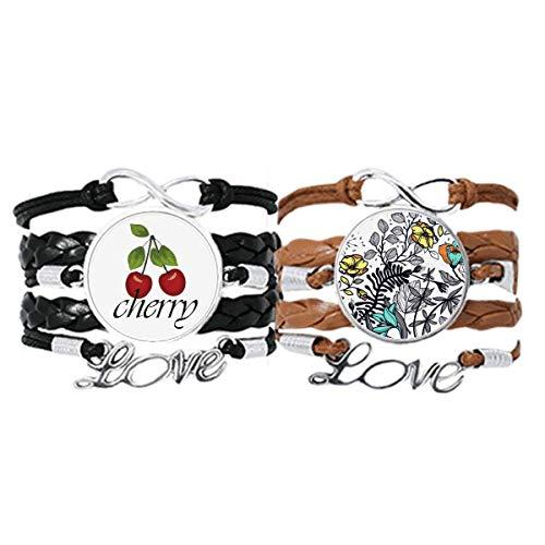 Bestchong Modern Art Camelia Blumen Pflanzen Zeichnung Armband Handschlaufe Leder Seil Kirsche Liebe Armband Doppelset