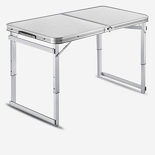 JIADUOBAO Folding Small Table 4-Person Table for Camping, Adjustable Height Aluminum Portable Outdoor Table for Picnic, BBQ, Beach, Party, Traveling (Color : White)