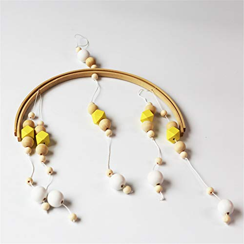 Rabusion Baby Room Decoration Wooden Beads Wind Chime Bed Bell Photography Props yellow 32 * 52CM