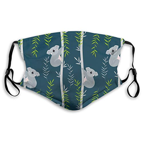 Unisex Gesichtsabdeckung, verstellbar, Anti-Staub-Mundschutz, waschbar, wiederverwendbar, für Radfahren, Camping, Reisen, Koalas On Trees