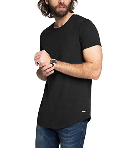 Edc by Esprit 026CC2K029-basic-Slim Fit T-Shirt, Noir (001), L Homme
