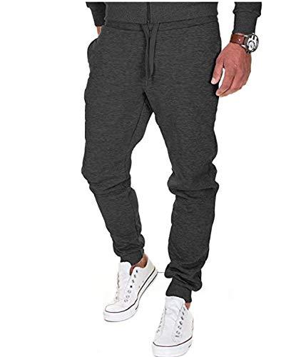 Merish Pantaloni Sportivi Uomo Cotone Slim Fit Pantaloni Allenamento Modell 211 Nero L
