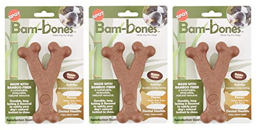 Ethical Pet 3 Pack of Bam-Bone Wish Bone Dog Toys, 5.25 Inches, Bacon Flavor
