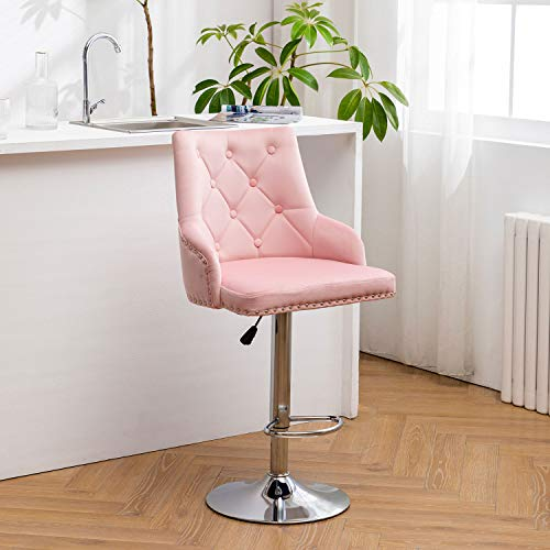 Hironpal Pink Velvet Bar Stool Chairs, Studded Barstool with Backrest Breakfast Bar Stool, Adjustable 360 Degree Swivel Gas Lift, Chrome Footrest and Base for Counter, Kitchen Island and Home