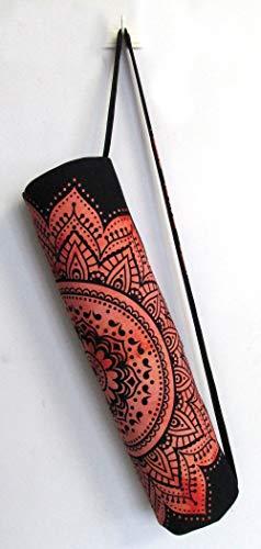Indian Craft Castle Sac de transport pour tapis de yoga hippie avec bandoulière, Fleur - Rouge, FULL