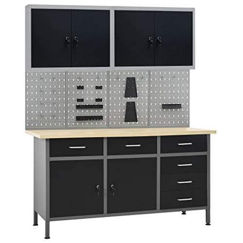 Unfade Memory Adjustable Workbench Table with 6 Drawers and 2 Doors Heavy-Duty Steel Workstation with 4 Wall Panels and 2 Cabinets