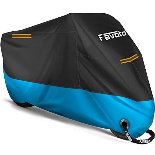 Favoto Funda para Moto Cubierta de la Moto 210D Impermeable Protectora con Banda Reflectante a Prueba de Sol Lluvia Polvo Viento Nieve Excremento de Pájaro al Aire Libre, 245x105x125cm Negro+Azul
