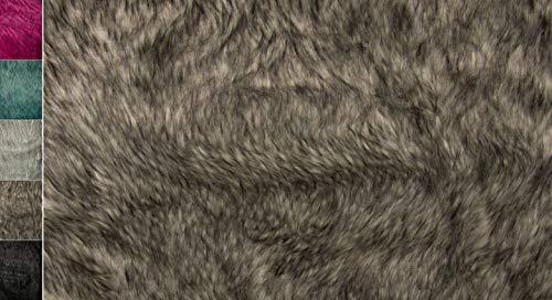 Stoffbook GRAU HOCHWERTIG Wolf ZWEIFARBIG HAARIGES Fell KUNSTFELL Stoff Stoffe - METERWARE AB 2M -, D620(Grau)