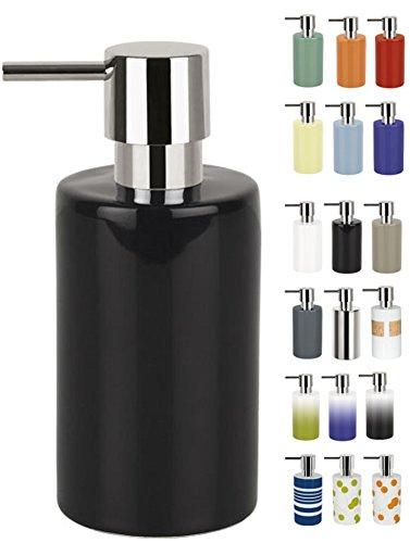 """Spirella Distributeur de Savon Liquide """"Tube"""" Céramique Distributeur de Lotion avec doseur en ABS chromé Capacité 300 ML (ØxH): 7 x 16 cm - Noir"""