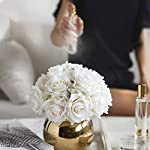 nnr artificial flowers artificial flowers artificial silk rose flowers bouquets decoration with gold vase for table home office wedding(white) home decoration (color : white)
