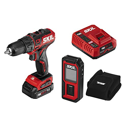 SKIL 2Tool Combo Kit: PWRCore 12 Brushless 12V 1/2 Inch Cordless Drill Driver and 100 Foot Laser Distance Measurer and Level Includes 20Ah Lithium Battery and PWRJump Charger  CB737501