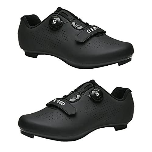 1 par de zapatos de ciclismo Zapatos de bicicleta de carretera Zapatillas de montar unisex Zapatillas de bicicleta con absorción de impactos para bicicleta de pedal de bloqueo al aire libre Negro 46